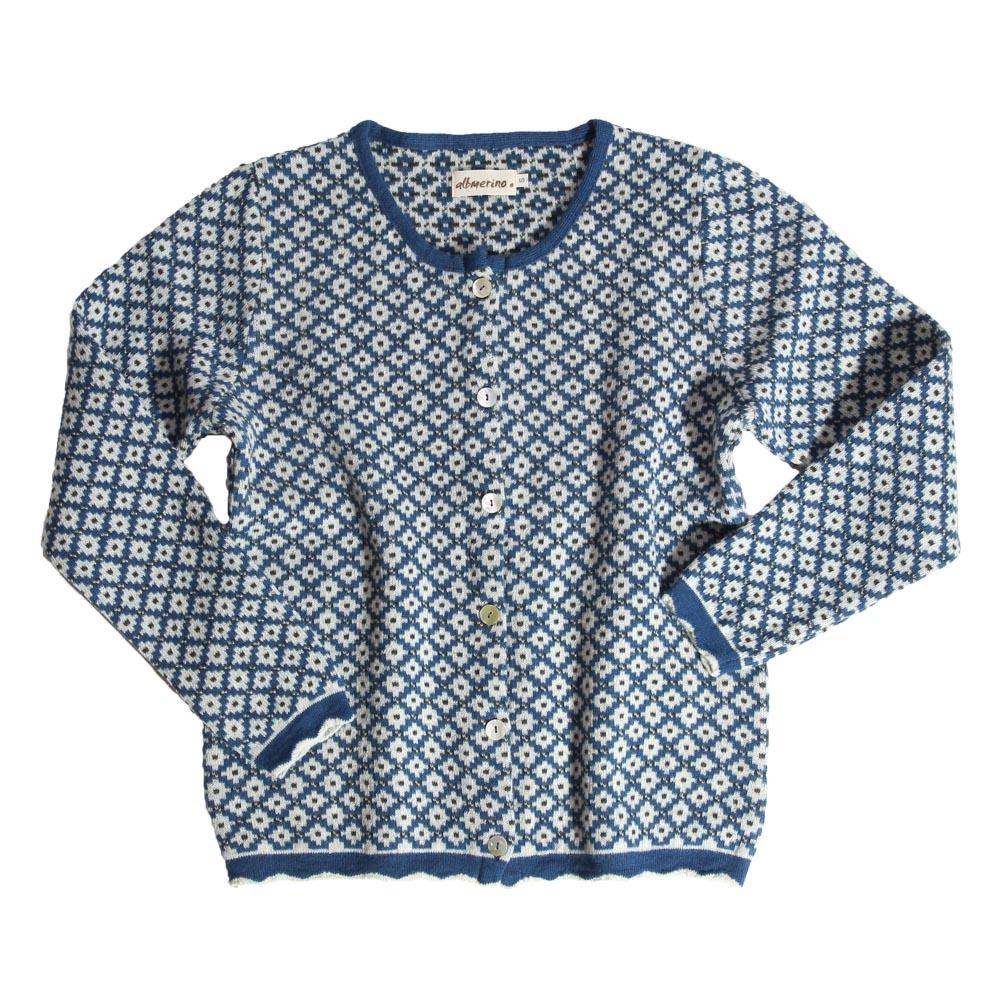 Strickjacke Mosaico mittelblau/bunt